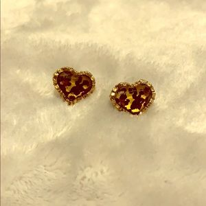 Betsy Johnson Leopard Heart Earrings